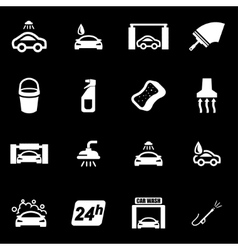 White car wash icon set vector