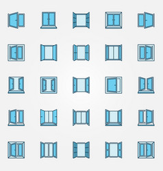 Window blue icons set - open windows vector