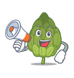 with megaphone artichoke character cartoon style vector image