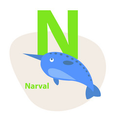 Zoo abc letter with cute narwhal cartoon vector