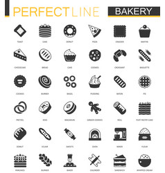black classic bakery pastry icons set vector image