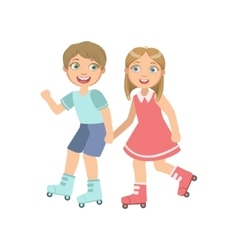 Boy And Girl Roller Skating Holding Hands vector image