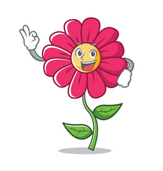 okay pink flower character cartoon vector image vector image