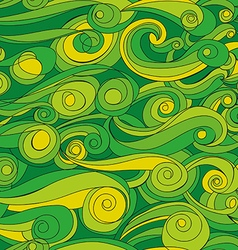Seamless abstract pattern with green waves vector image vector image