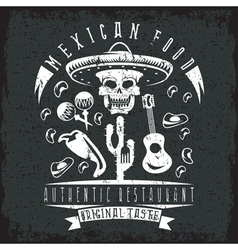 grunge emblem of restaurant with skull in mexican vector image