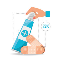 hand with ointment and medical band aids vector image vector image