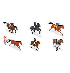 isometric set jockey on horse vector image