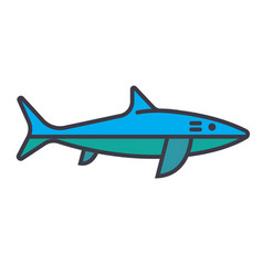 shark flat line concept vector image