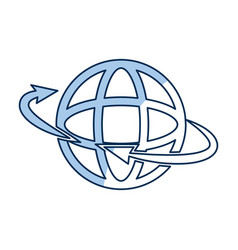global around connection internet web icon outline vector image
