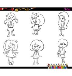 kid girls set coloring book vector image vector image