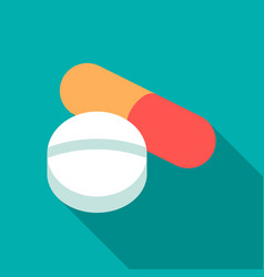 pill icon flat single medicine icon from the big vector image vector image