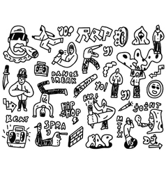 rap hip hop - doodles set vector image