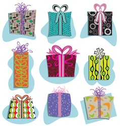 retro gift boxes icons vector image vector image