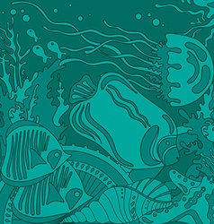 with underwater world of the tropical sea vector image