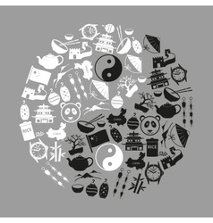 China theme black icons set symbols eps10 vector