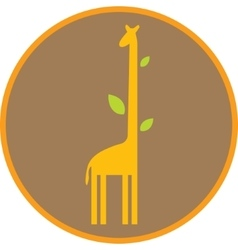Funny giraffe with long neck and leaves vector