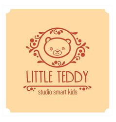 kids club logo with teddy bear cute kindergarten vector image vector image