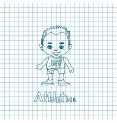 Sketch Cartoon Boy Athelete vector image vector image