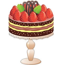 strawberry cake vector image vector image