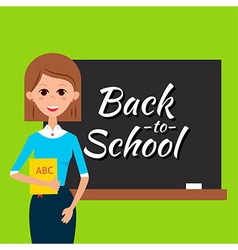 Teacher with Book and Back to School Blackboard vector image vector image