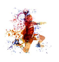 Watercolor of a handball player vector