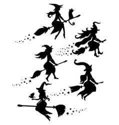a set black silhouettes witches flying vector image