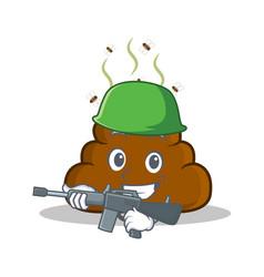 Army poop emoticon character cartoon vector