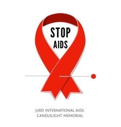 Awareness red ribbon symbol of AIDS vector