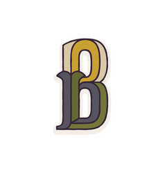 B letter logo faceted with dim colors vector