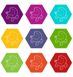 baby carriage icons set 9 vector image