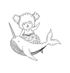 beautiful mermaid with narval fairytale character vector image