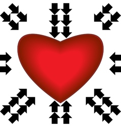 Big red heart with arrows vector