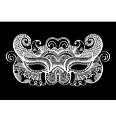 black lineart venetian carnival mask silhouette vector image