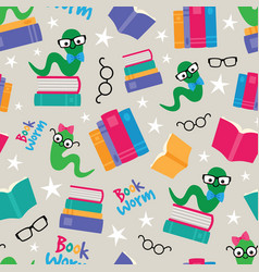 book worms seamless pattern vector image