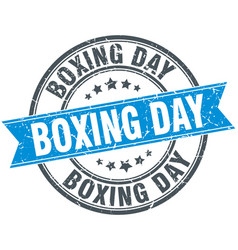 Boxing day round grunge ribbon stamp vector