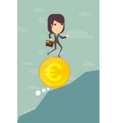 Business woman running on a euro coin vector