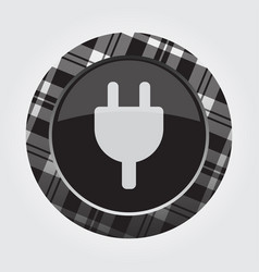 button with white black tartan - electrical plug vector image
