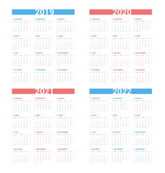 calendar next 4 year simple style vector image
