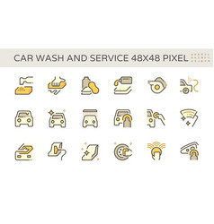 Car wash and service icon set design 48x48 pixel vector