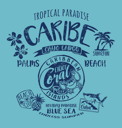 caribe cuba coral reef tropical paradise vector image