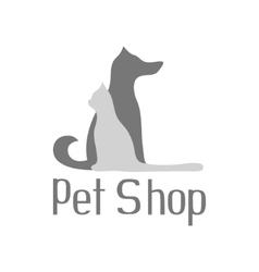Cat and dog sign for pet shop logo isolated vector image