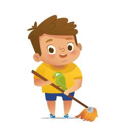 children doing household routines - little boy vector image