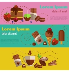 Chocolate coffee desserts and cakes retro vintage vector image