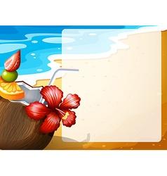 Coconut juice on the beach vector