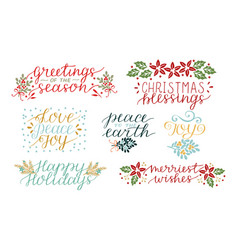 Collection with 7 holiday cards made hand vector