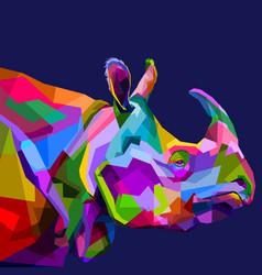 Colorful rhinoceros on pop art vector