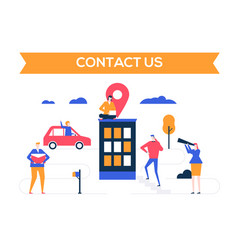 contact us - flat design style colorful vector image