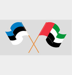 Crossed and waving flags estonia and united vector