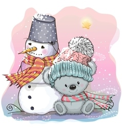 Cute Bear and snowman vector