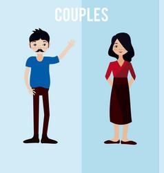 cute couples cartoons vector image